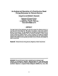 An Analysis and Simulation of a Novel Auction ... - Computer Science