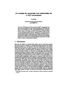 An analysis for anonymity and unlinkability for a ... - Semantic Scholar