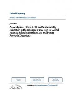 An Analysis of Ethics, CSR, and Sustainability Education in the ...