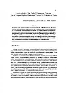 An Analysis of the Oxford Placement Test and the Michigan English ...