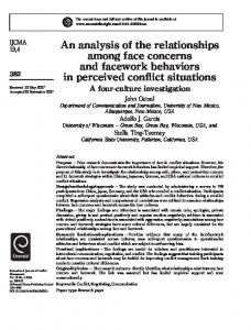 An analysis of the relationships among face concerns and facework