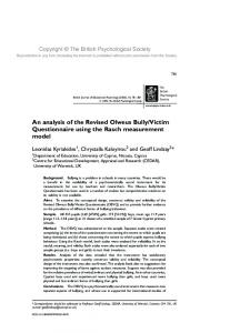 An analysis of the Revised Olweus BullyVictim Questionnaire using ...