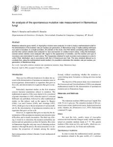 An analysis of the spontaneous mutation rate measurement ... - SciELO