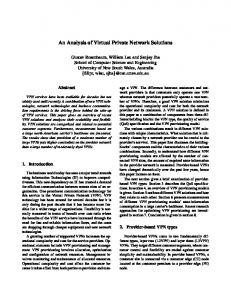 An Analysis of Virtual Private Network Solutions