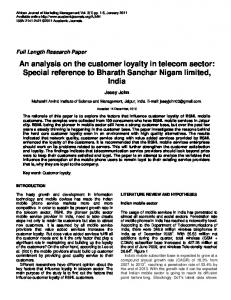 An analysis on the customer loyalty in telecom ... - Academic Journals