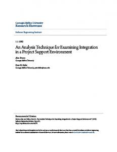 An Analysis Technique for Examining Integration in a ... - CiteSeerX