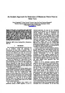 An Analytic Approach for Estimation of Maximum ...