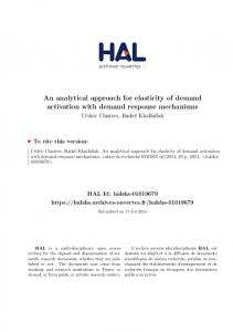 An analytical approach for elasticity of demand activation ... - Hal-SHS