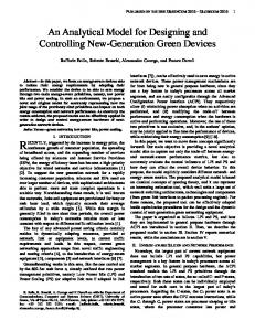 An Analytical Model for Designing and Controlling New-Generation ...