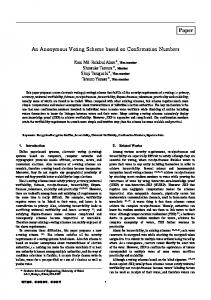 An Anonymous Voting Scheme based on Confirmation ... - Core