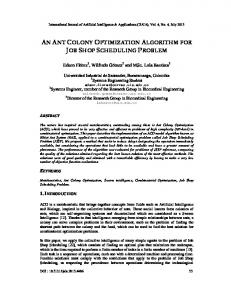 an ant colony optimization algorithm for job shop ... - Aircc Digital Library