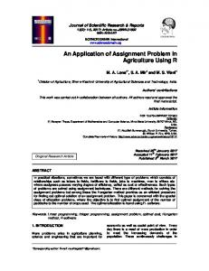 An Application of Assignment Problem in Agriculture