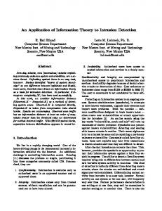 An Application of Information Theory to Intrusion Detection - CiteSeerX