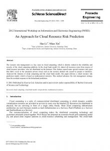 An Approach for Cloud Resource Risk Prediction