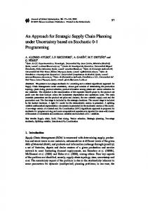 An Approach for Strategic Supply Chain Planning under Uncertainty