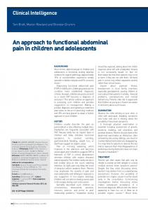 An approach to functional abdominal pain in ... - Semantic Scholar