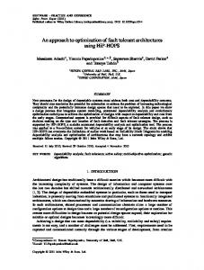 An approach to optimization of fault tolerant architectures ... - CiteSeerX