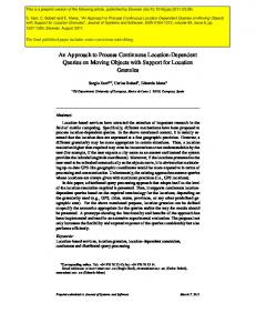 An Approach to Process Continuous Location-Dependent Queries on ...