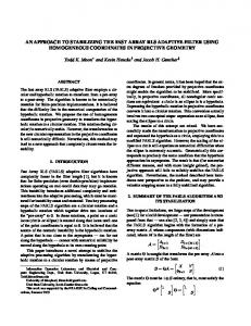 AN APPROACH TO STABILIZING THE FAST ARRAY RLS ADAPTIVE ...