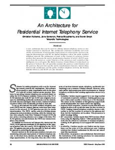 An Architecture for Residential Internet Telephony Service