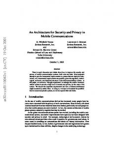 An Architecture for Security and Privacy in Mobile Communications