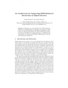 An Architecture for Supporting RFID-Enhanced ... - Semantic Scholar