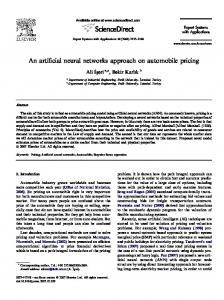 An artificial neural networks approach on automobile pricing