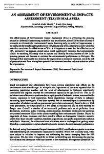An Assessment of Environmental Impacts Assessment (EIA) in Malaysia