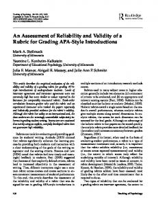 An Assessment of Reliability and Validity of a ... - Semantic Scholar