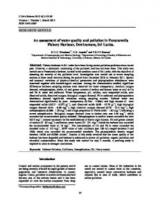 An assessment of water quality and pollution in Puranawella Fishery ...