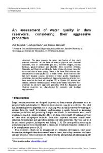 An assessment of water quality in dam reservoirs, considering their