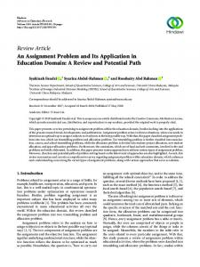 An Assignment Problem and Its Application in Education Domain: A ...
