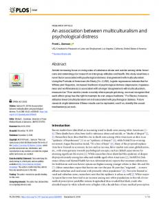An association between multiculturalism and psychological ... - PLOS