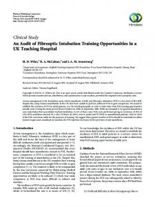 An Audit of Fibreoptic Intubation Training Opportunities in a UK ...