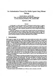An Authentication Protocol For Mobile Agents Using Bilinear Pairings