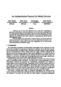 An Authentication Protocol for Mobile Devices