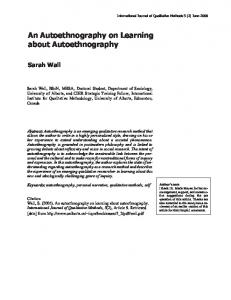 An Autoethnography on Learning about ... - University of Alberta