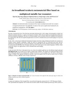 An broadband terahertz metamaterial filter based on ... - OSA Publishing
