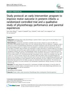 an early intervention program to improve motor ... - ScienceOpen
