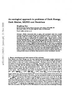 An ecological approach to problems of Dark Energy, Dark Matter ...