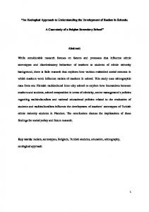 An Ecological Approach to Understanding the ...