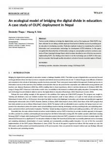 An ecological model of bridging the digital ... - Wiley Online Library