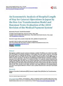 An Econometric Analysis of Hospital Length of Stay for Cataract ...