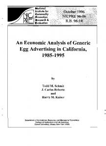 An Economic Analysis of Generic Egg Advertising in California, 1985 ...