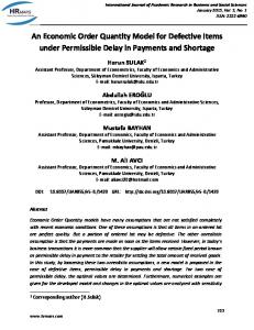 An Economic Order Quantity Model for Defective Items under ... - hrmars