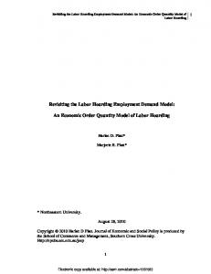 An Economic Order Quantity Model of Labor Hoarding - SSRN papers