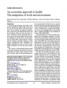 An ecosystem approach to health: The integration of ...