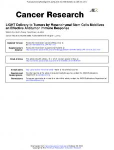 an Effective Antitumor Immune Response LIGHT Delivery to Tumors ...