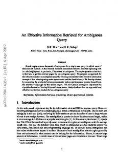 An Effective Information Retrieval for Ambiguous ... - Semantic Scholar