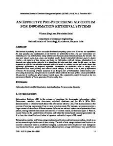 an effective pre-processing algorithm for ... - Semantic Scholar